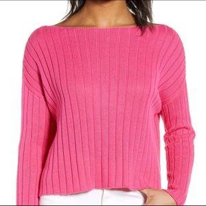BP Boxy Ribbed Boatneck Sweater Pink Sz 3X / XXXL